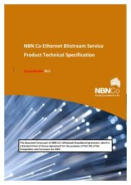 NBN Co Ethernet Bitstream Service Product Technical Specification