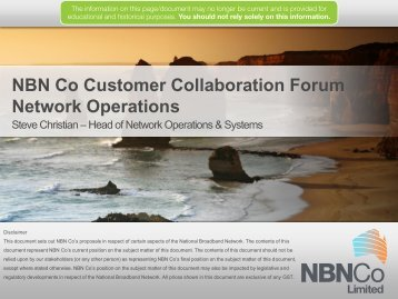 NBN Co Customer Collaboration Forum Network Operations