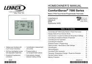 ComfortSense 7000 Thermostat Homeowners Manual - Lennox