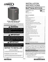 XC13 Air Conditioner Installation Manual - Lennox