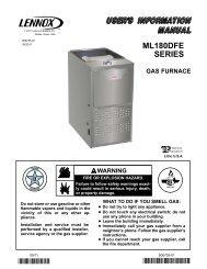 ML180DFE Gas Furnace Homeowners Manual - Lennox