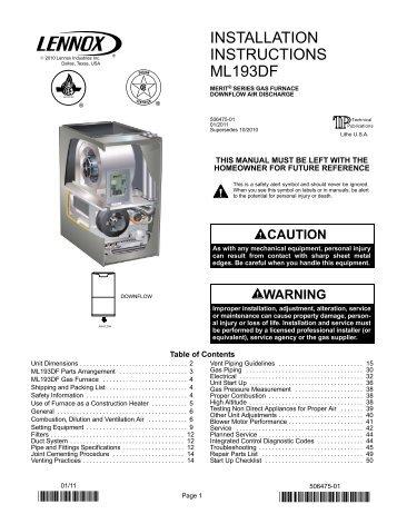 ML193DF Gas Furnace Installation Manual - Lennox