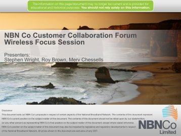 NBN Co Customer Collaboration Forum - Wireless Focus Session