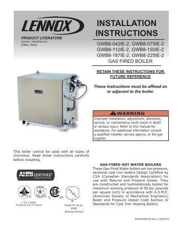 GWB8-IE Boiler Installation Manual - Lennox