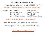 PHY2048 - Physics with Calculus 1 Meet: Periods 4, 5 (10:40-11:30 ...