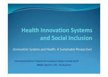 Sistemas de Inovação e Saúde: Uma perspectiva ... - RedeSist