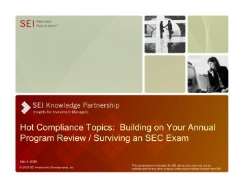 Hot Compliance Topics: Building on Your Annual Program ... - SEI