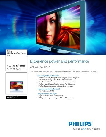 40PFL5505D/F7 Philips LCD TV with Pixel Precise HD