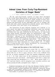 Inbred Lines From Curly-Top-Resistant Varieties of Sugar Beets1