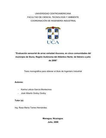 Evaluacion sensorial de arroz Azucena en Nicaragua_ ... - AgroSalud