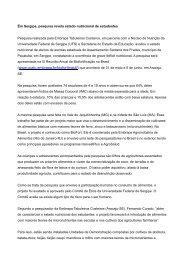 Em Sergipe, pesquisa revela estado nutricional de ... - AgroSalud