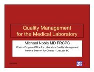 Quality Management for the Medical Laboratory - the British ...
