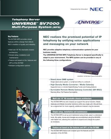 UNIVERGE SV7000 MPS Data Sheet