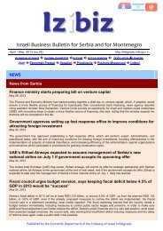 Israeli Business Bulletin for Serbia and for Montenegro