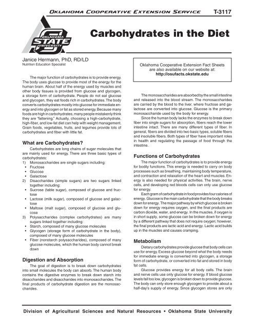 Carbohydrates in the Diet - OSU Fact Sheets - Oklahoma State