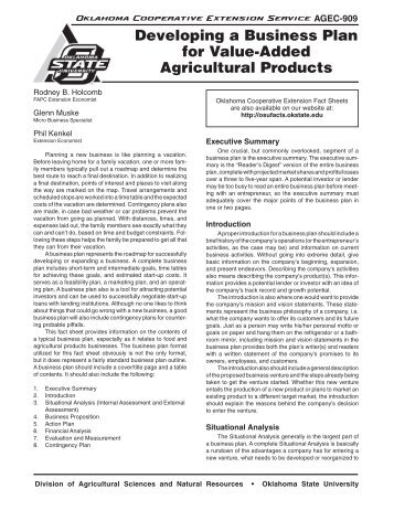 developing a business plan for value added agricultural products