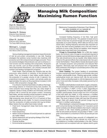 ANSI-4017 Managing Milk Composition: Maximizing Rumen Function