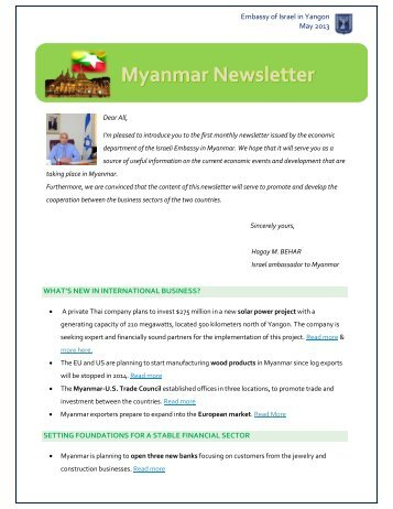 Myanmar Monthly News Letter