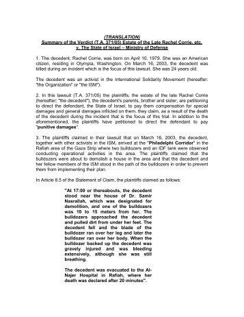 Summary of the Verdict (TA 371/05) Estate of the Late Rachel Corrie ...