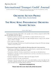 Orchestra Section Profile - International Trumpet Guild