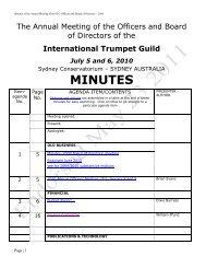 OLD BUSINESS - International Trumpet Guild