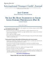 jazz corner chuck tumlinson, column editor - International Trumpet ...