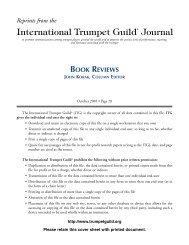 book reviews john korak, column editor - International Trumpet Guild