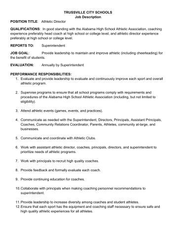 Job Description - Direction Of Instruction - Trussville City Schools