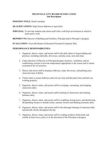 High School Custodian Job Description Image Gallery  Hcpr