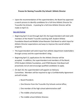 Athletic Director Job Duties  Full Time Ad  Trussville City Schools