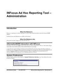 INFocus Ad Hoc Reporting Tool - Administration - STI Support