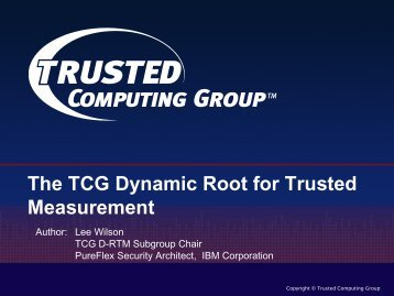 D-RTM Specification Overview - Trusted Computing Group