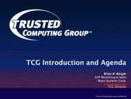 TCG Introduction and Agenda - Trusted Computing Group
