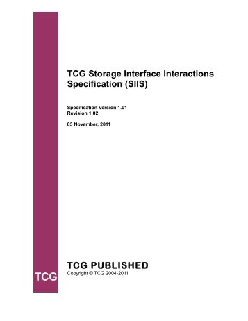 Storage Interface Interactions Specification, Version 1.01 Revision ...