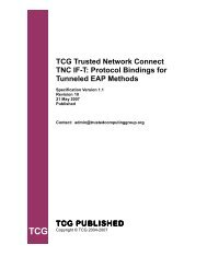 TCG Trusted Network Connect TNC IF-T: Protocol ... - Opus One