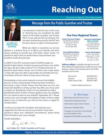 Reaching Out - Public Guardian and Trustee of British Columbia