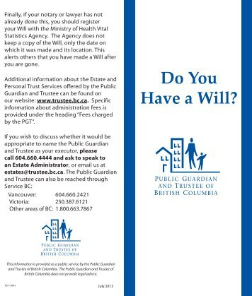 Do You Have a Will? - Public Guardian and Trustee of British ...
