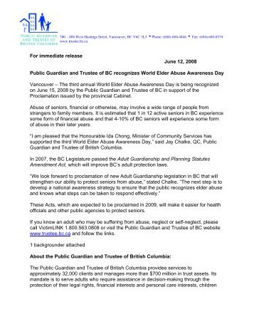 press release - Public Guardian and Trustee of British Columbia