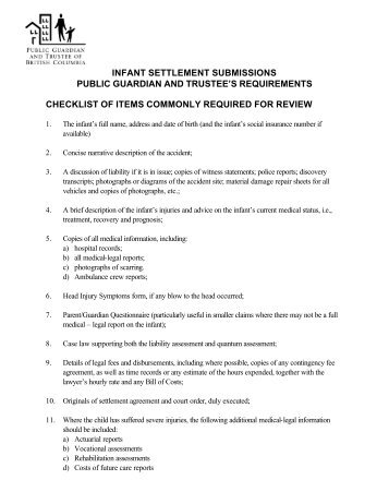 Guidelines for submitting infant settlements to the Public Guardian ...