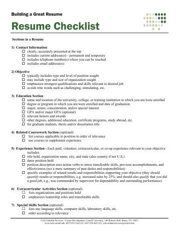resume review checklist for students