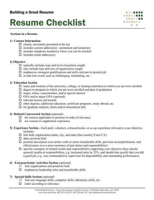 resume checklist - 4-h