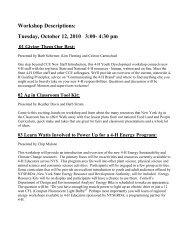 Workshop Descriptions: Tuesday, October 12, 2010 3:00
