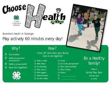 Play actively 60 minutes every day! Why? How? Be a Healthy ... - 4-H