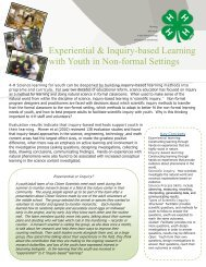 Experiential and Inquiry Based Learning Primer - 4-H