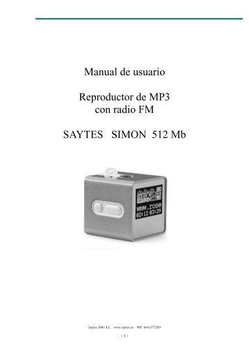 Manual de usuario Reproductor de MP3 con radio FM SAYTES ...