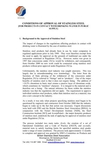 conditions of approval of stainless steel - British Stainless Steel ...