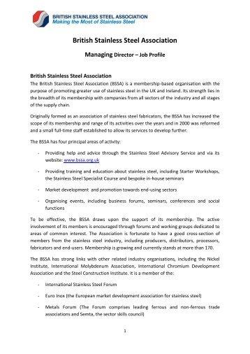 British Stainless Steel Association Managing Director – Job Profile