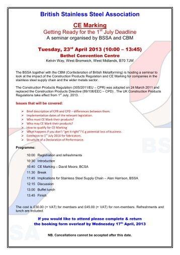 registration form - British Stainless Steel Association
