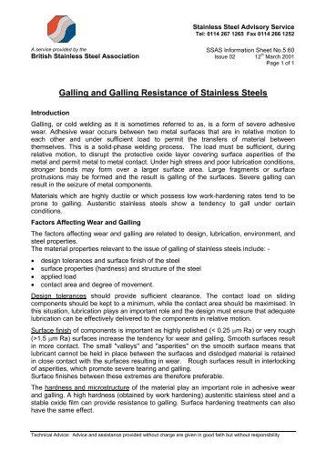 Information Sheet No - British Stainless Steel Association