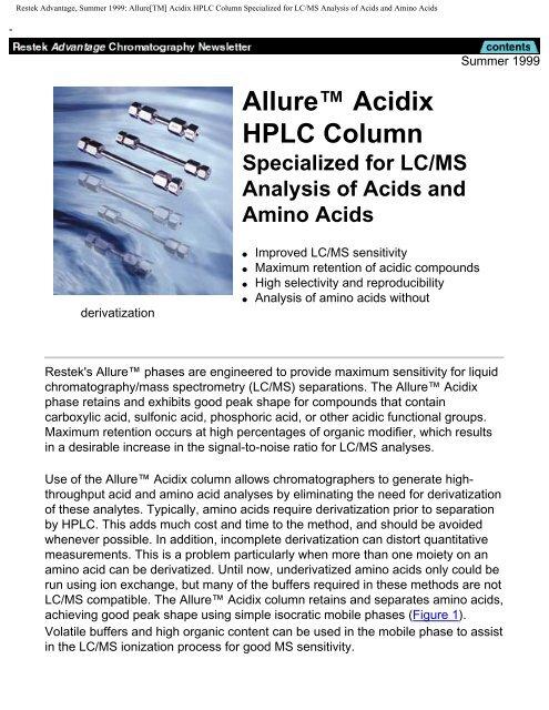 "Allureâ""¢ Acidix HPLC Column - Chromtech com au"